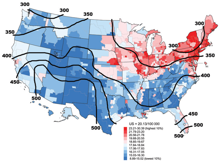 Garland cancer map